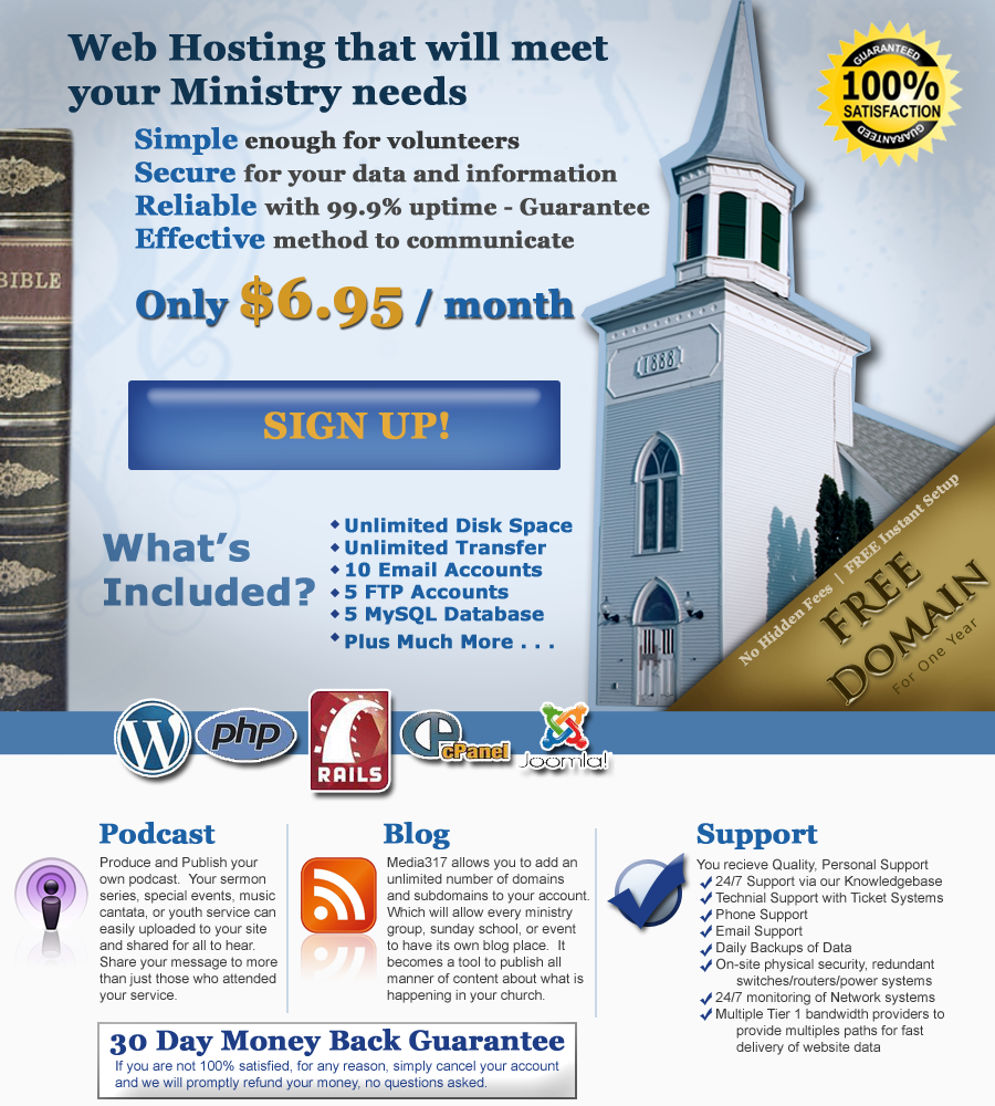 Church Web Hosting Offer