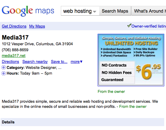 Media317 Listing in Google Places
