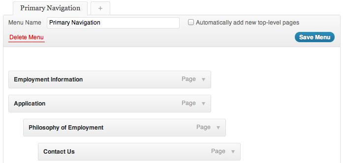 WordPress Primary Navigation