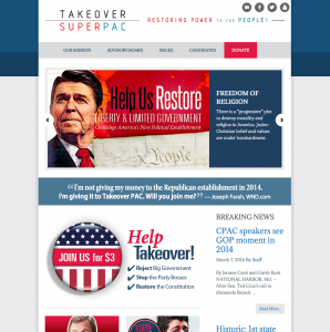 Design and development for Takeover Super PAC